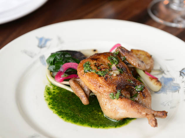 <p>Grilled quail at Schilling</p>