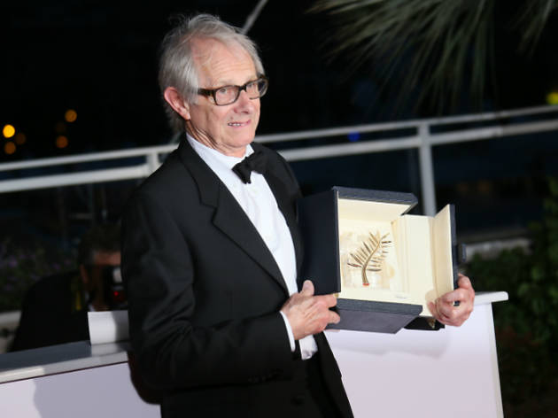 Ken Loach at Cannes Film Festival winning Palme d'Or, press 2016