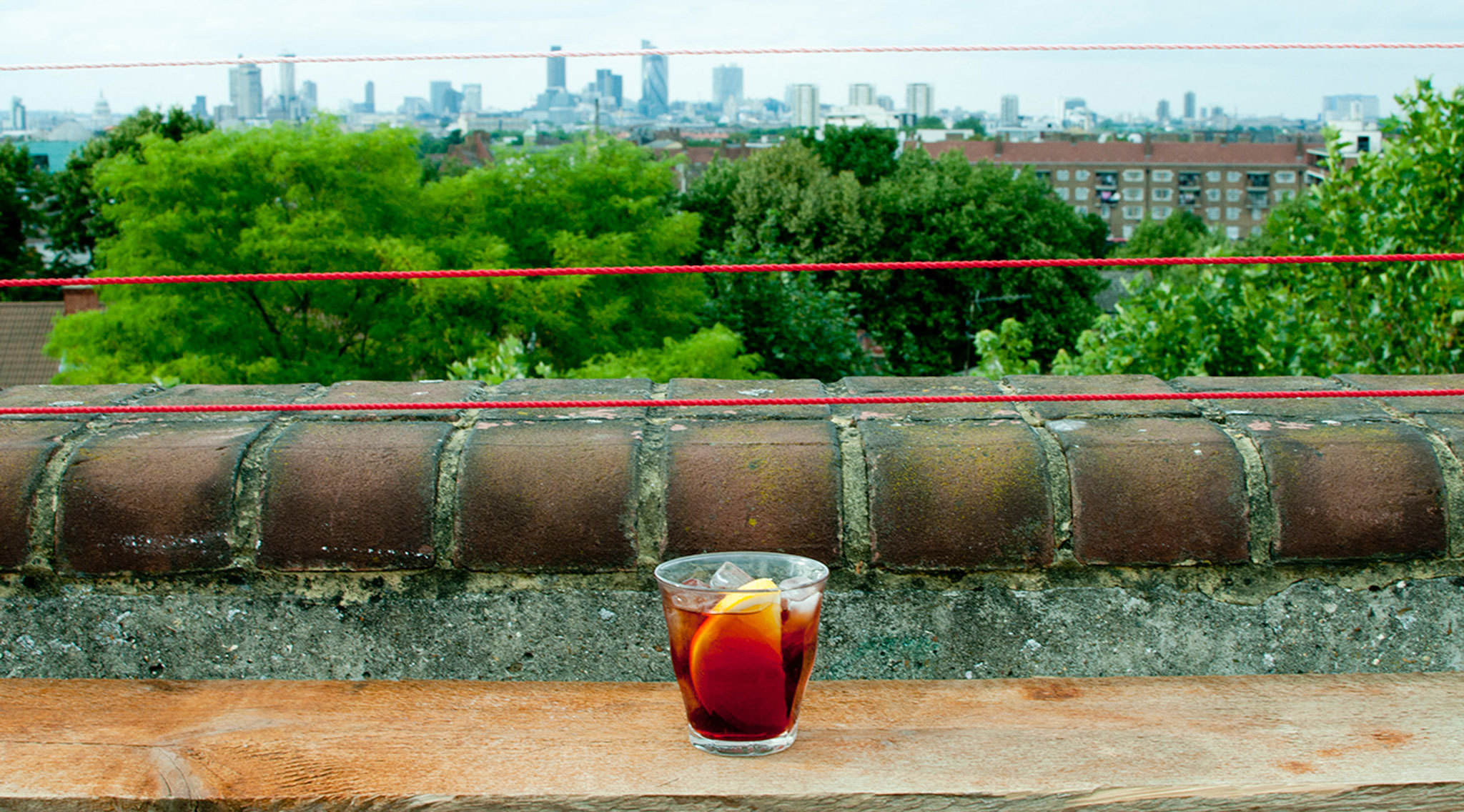 Best London bars with a view, Franks; campari bar