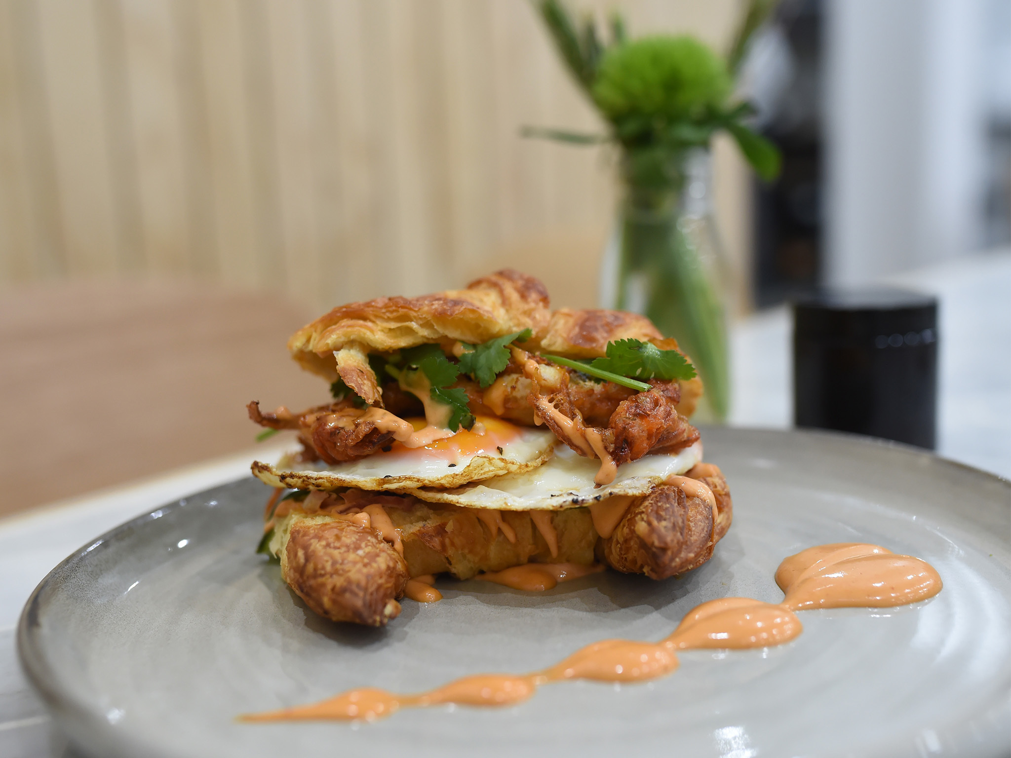 Bacon and egg croissant at White Mojo