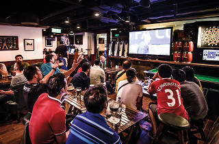 Fans watching this year's FA Cup final in Wan Chai