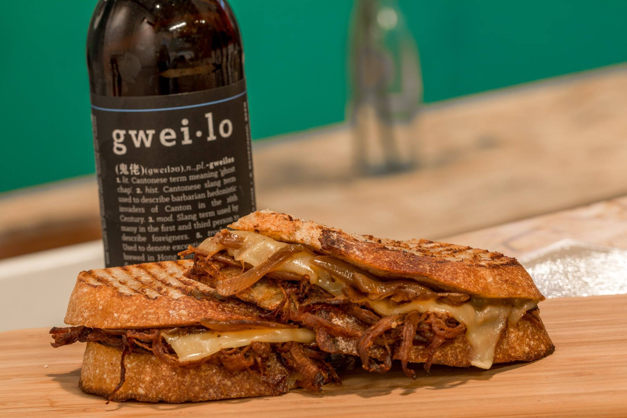 Knead's beef brisket with caramelised onions sandwich