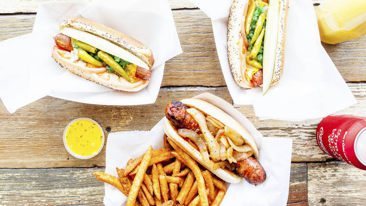 hot dogs on a table