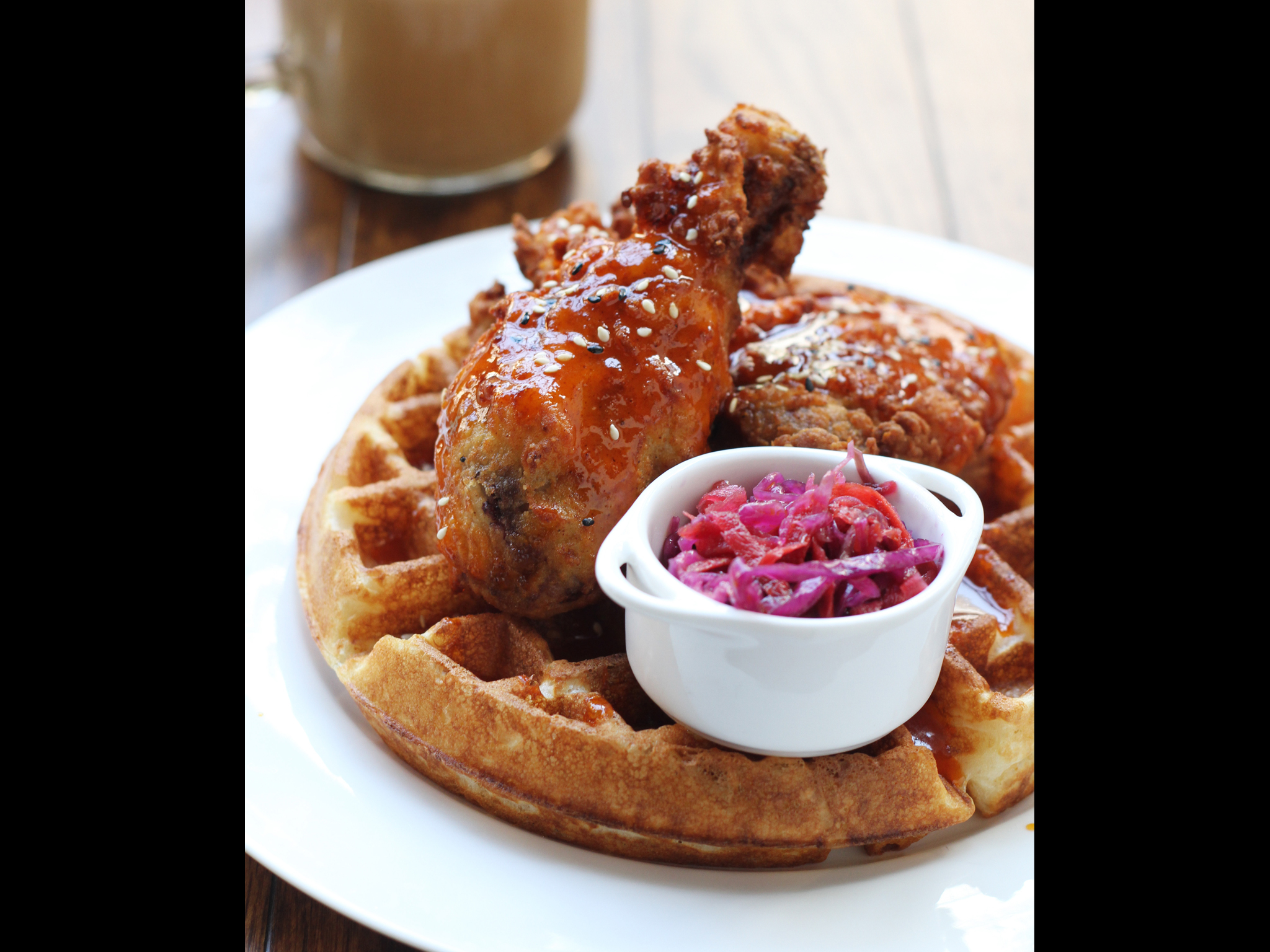 Chicken&waffle with cider slaw at Chu