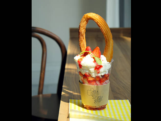 Dolly churro strawberry sundae at Dolly Churro Café