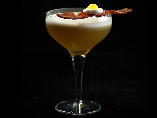 london's most quirky cocktails, bacon and egg martini, london cocktail club