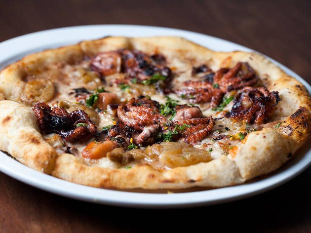 Charred octopus pizza at Baldoria