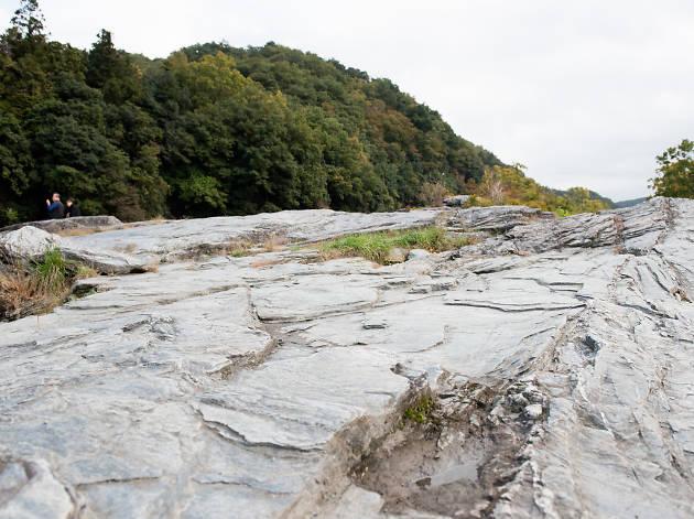 変わった岩石を眺める。