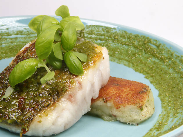 Hake supreme with pesto and potato