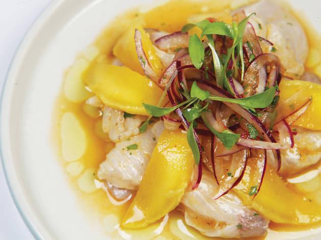 Hamachi cevishe with mango aji