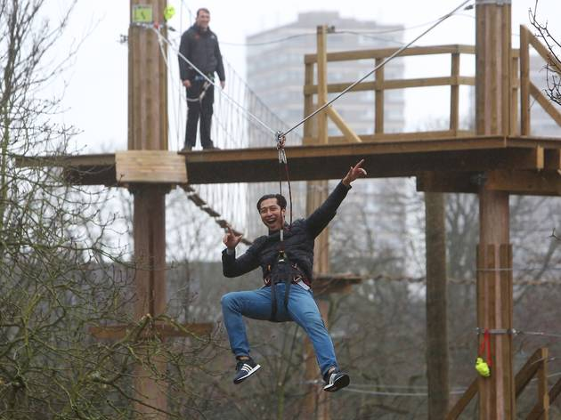 EDITORIAL USE ONLYParticipants living life adventurously at the new Go Ape Battersea Park, London, PRESS ASSOCIATION picture date Thursday 10th December 2015. Go Ape Battersea Park is the first Tree Top Adventure and Tree Top Junior in the centre of London, including zip wires, obstacles and some of the highest crossing Go Ape has to offer.Caption should read Geoff Caddick/PA Wire