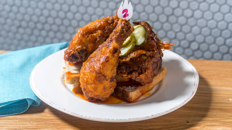 Hot chicken at Carla Hall Hall's Southern Kitchen