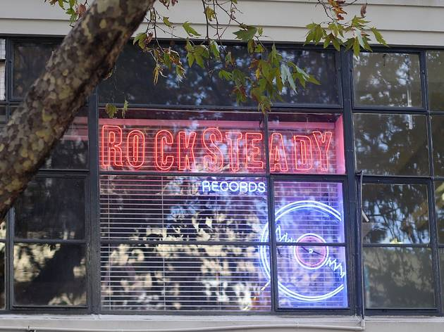 Neon sign at Rocksteady Records