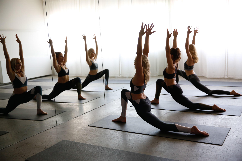 Women in a yoga class