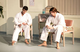 Back at the Dojo 2016 Belvoir production photo 03 feat Fayssal Bazzi and Harry Greenwood photographer credit Brett Boardman