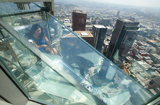 Braving the glass Skyslide at the US Bank Tower's Skyspace