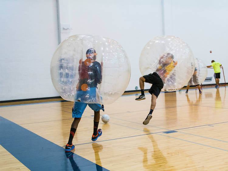 Kick around a soccer ball… in a giant bubble