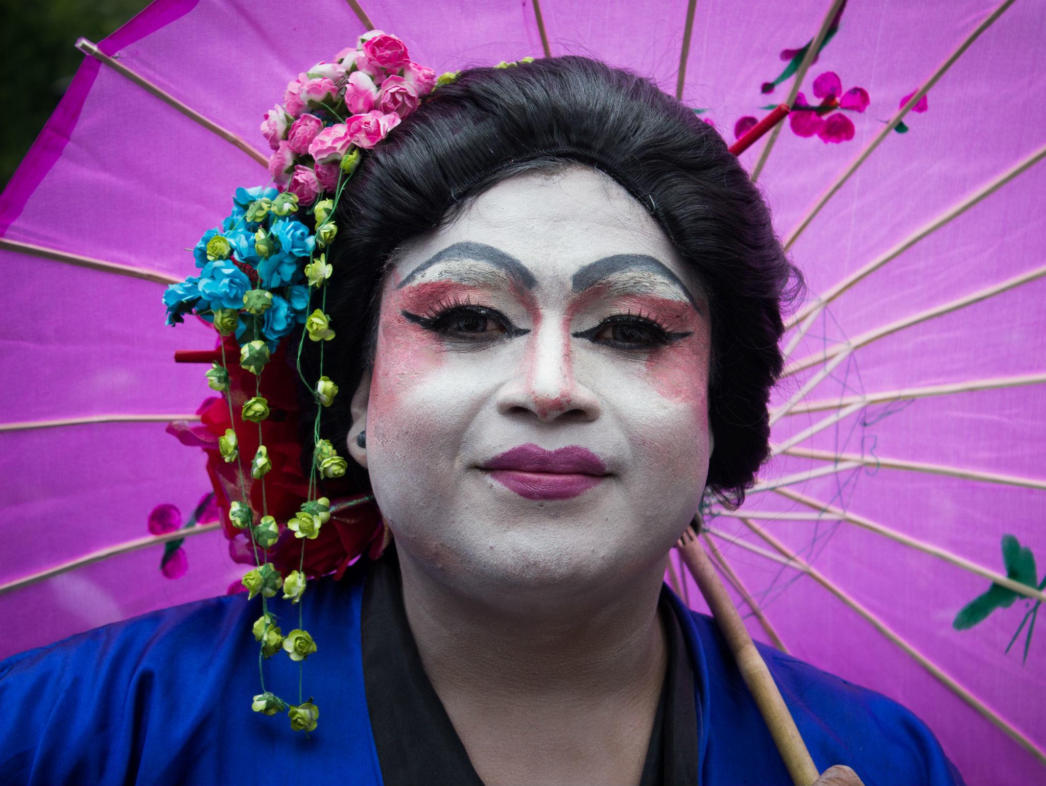 Geisha en la Marcha del Orgullo LGBTTTI en la CDMX