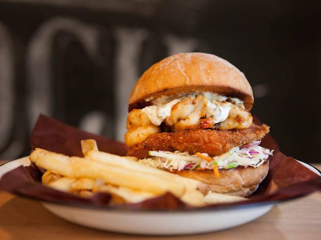 Shake em buns bayou burger and fries