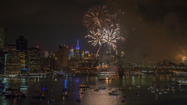 What time do the fireworks start in NYC tonight?