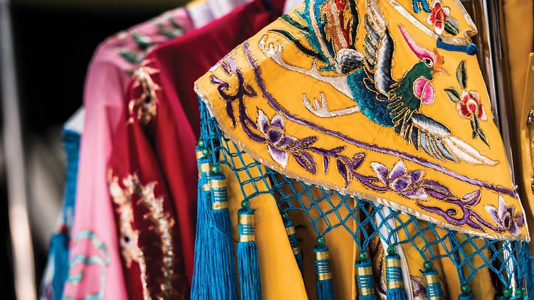 Backstage wardrobe at a Chinese opera show