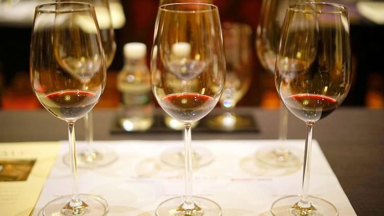 Wine glasses, tasting portions