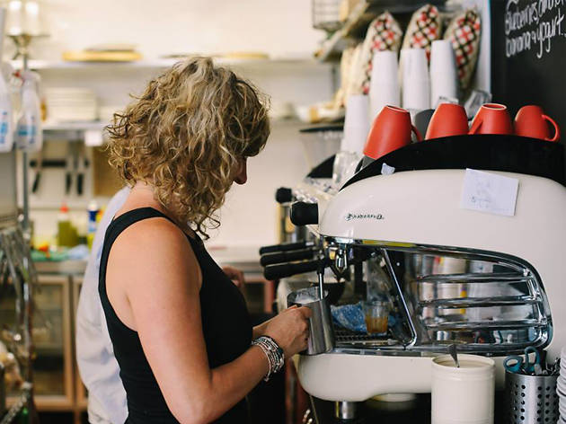 Barista at Unwritten Bookshop Cafe, Gladesville