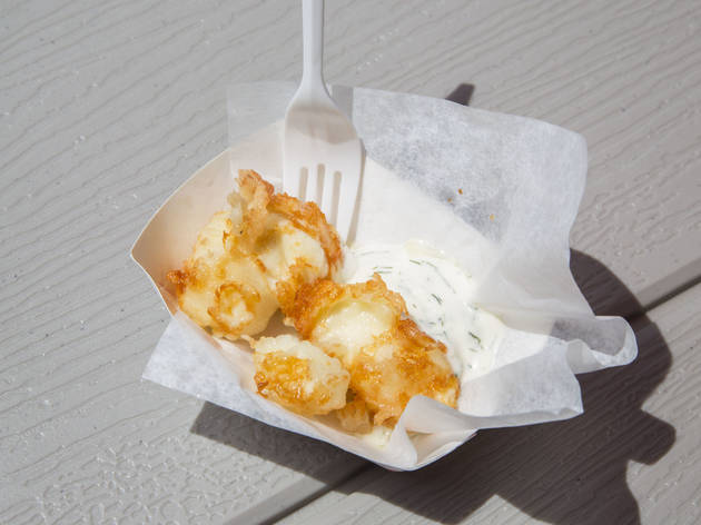 Fried Wisconsin Cheese Curds in Beer Batter with Dill Creme Fraiche from Pastoral Artisan Cheese, Bread & Wine