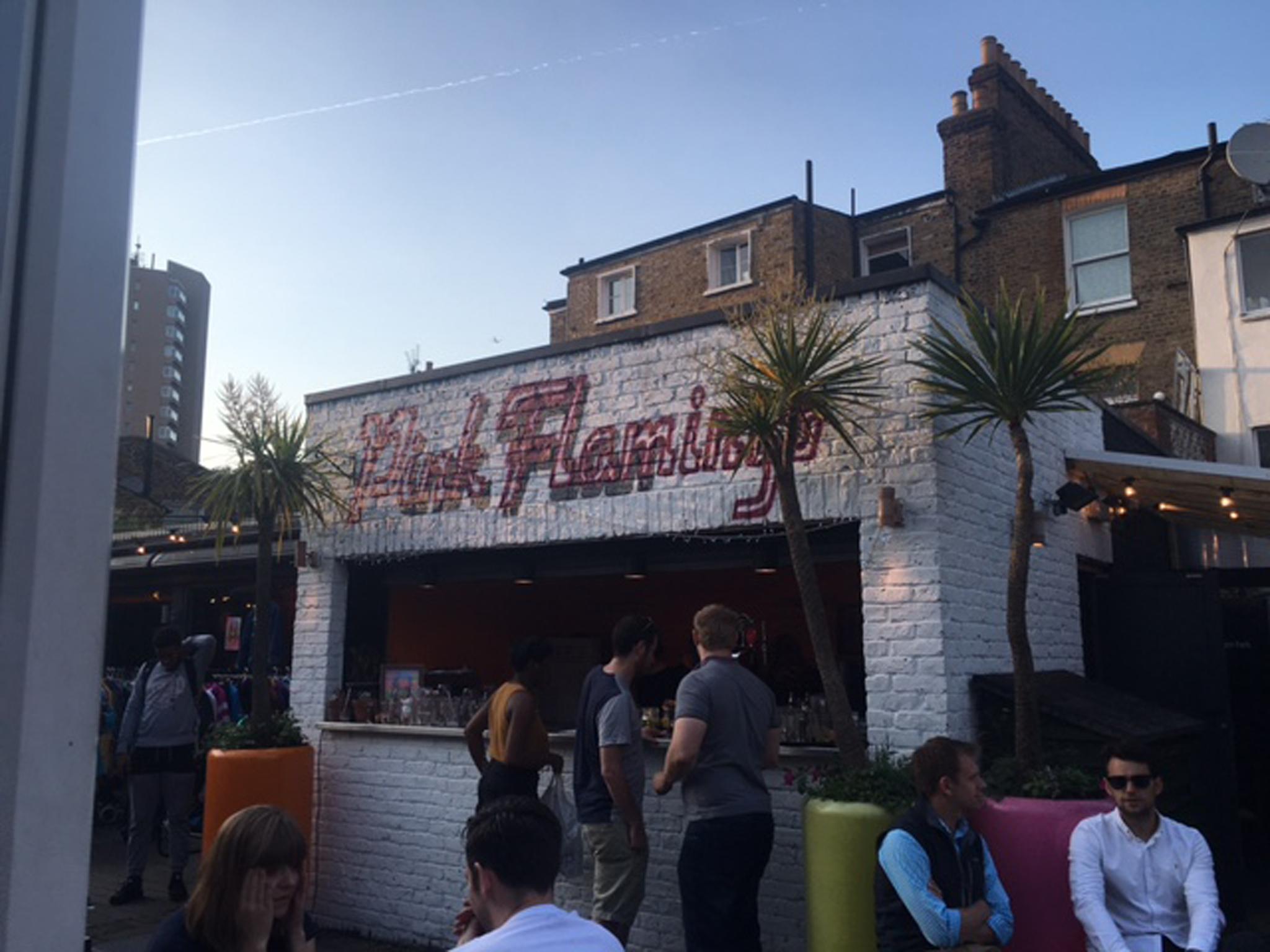 beach bars in london, the pink flamingo