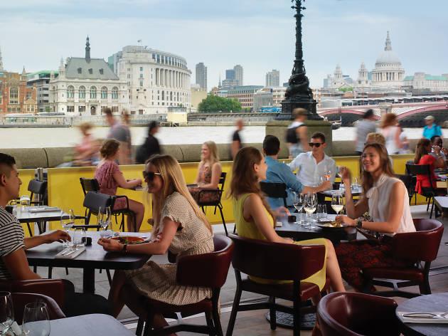 best riverside restaurants in london, sea container