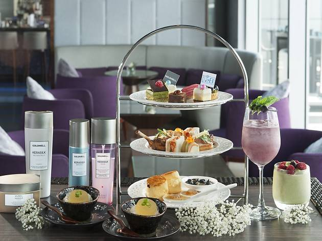 Afternoon tea tower with hair care products
