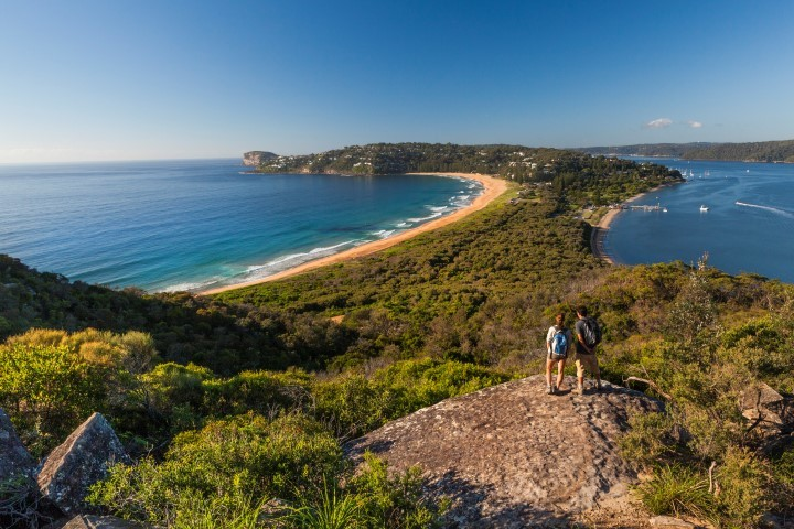 Two walkers on the Barrenjoey Lighthouse Track