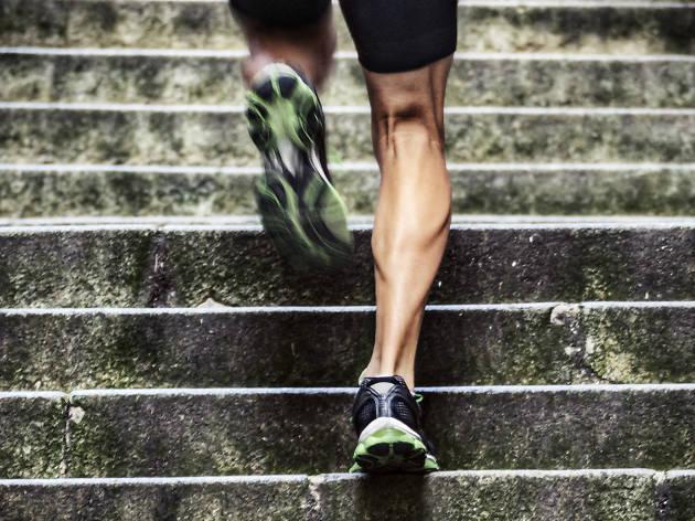 Runner running upstairs