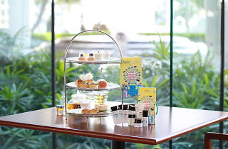 Afternoon tea tower with hair care product samples