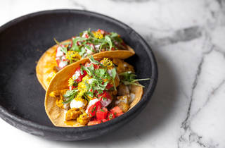 Curried cauliflower tacos at Plant Food + Wine