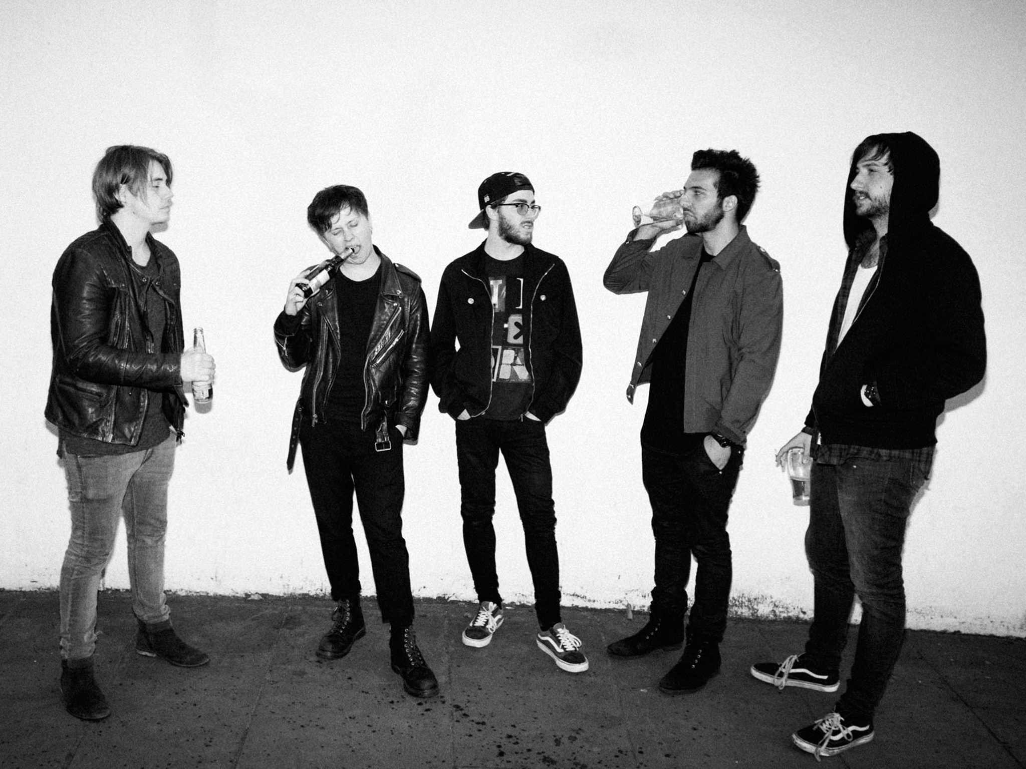 B&w shot of Nothing But THieves