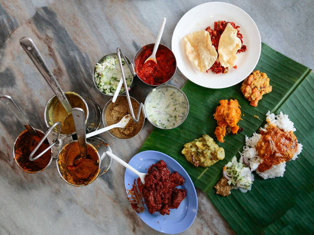 Banana leaf rice at Devi's Corner, from RM7.50
