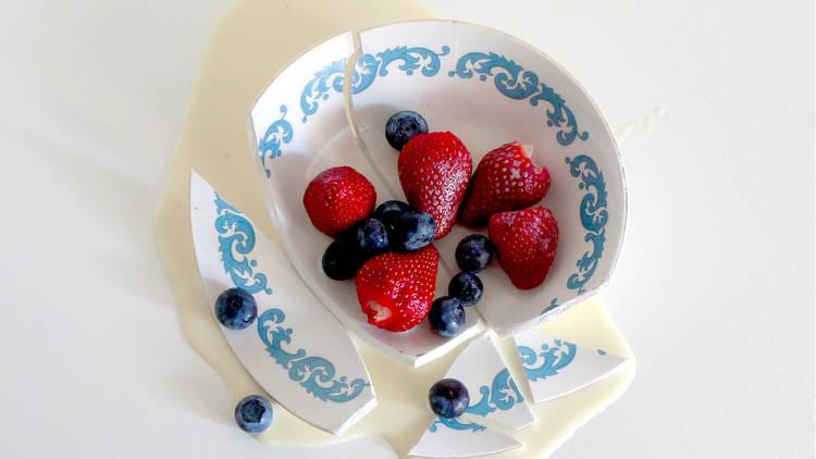 Broken bowl with fruit