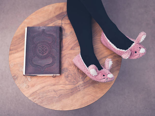 Coffee table book and slippers