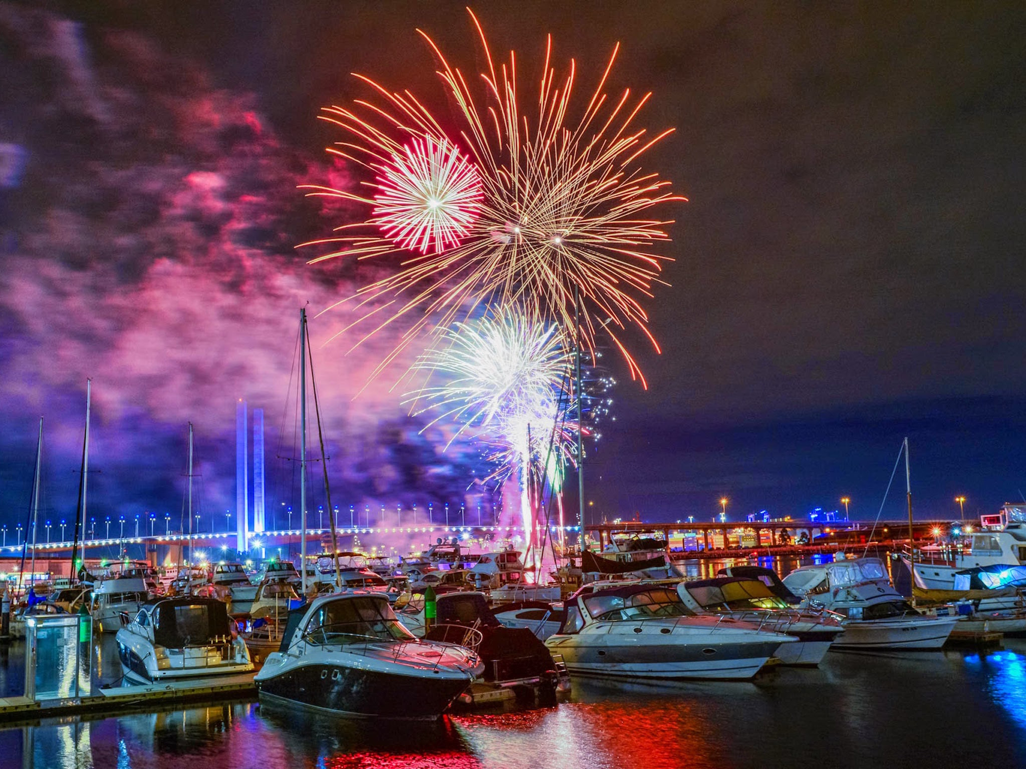 Friday night fireworks at the Docklands
