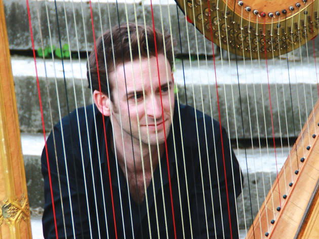 Shot of Sylvain Blassel behind harp