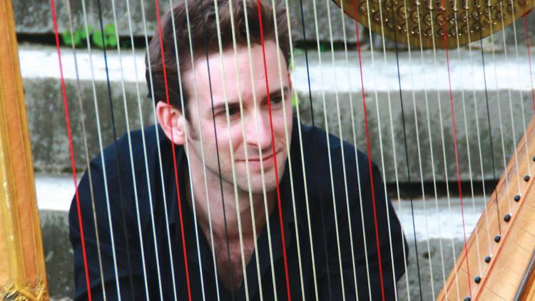 Shot of Sylvain Blassel behind harp