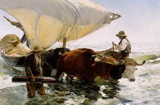 (Joaquin Sorolla, 'Retour de la pêche : halage de la barque', 1894 © RMN-Grand Palais (musée d'Orsay) / Photo : Gérard Blot / Hervé Lewandowski)