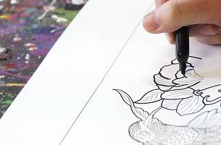 Deep Spring interactive colouring-in mural