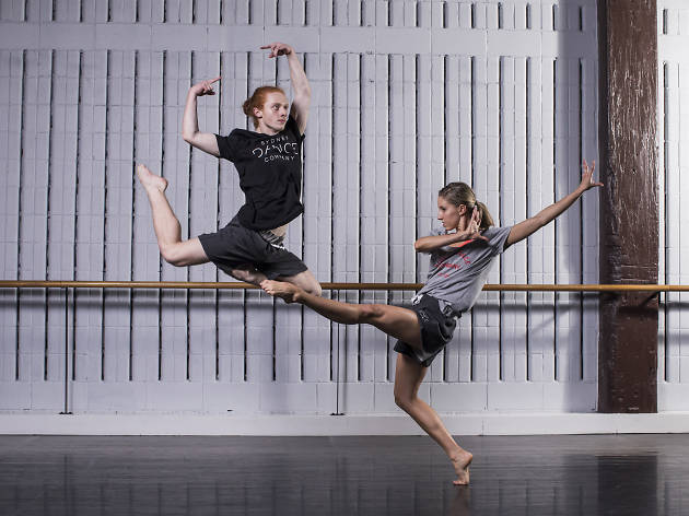 Two dancers in motion at Sydney Dance Company