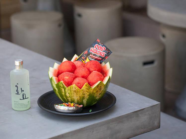 Watermelon soju at Hanjip