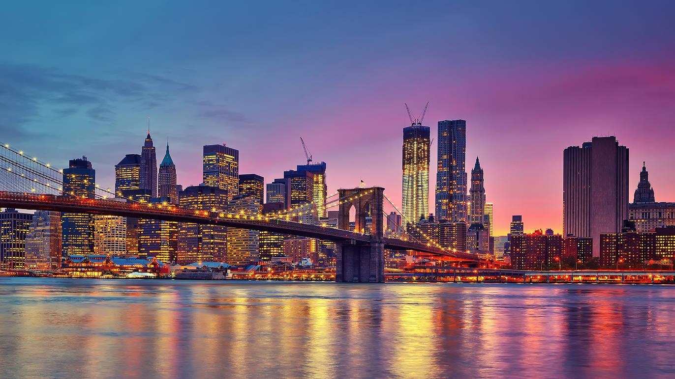 ニューヨーク、夜のブルックリン橋