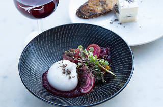 Burrata and beets with grated truffle at Gazebo