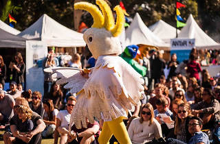Person dressed in a cockatoo outfit at Surry Hills Festival