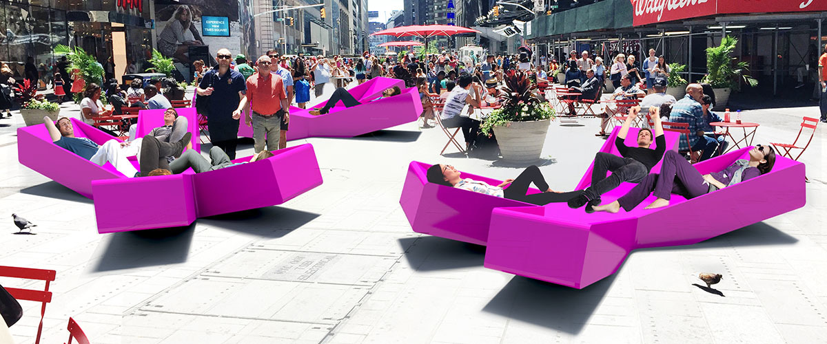 Take a load off in Times Square in these cool recliners